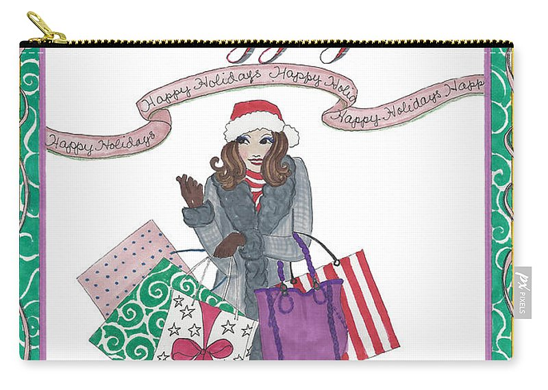 Holiday Carry-all Pouch featuring the mixed media Comes with Baggage - Holiday by Stephanie Hessler
