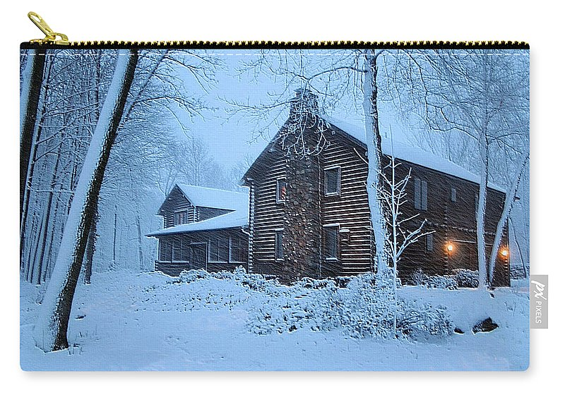Log Cabin Carry-all Pouch featuring the photograph Comfort From The Cold by Kristin Elmquist