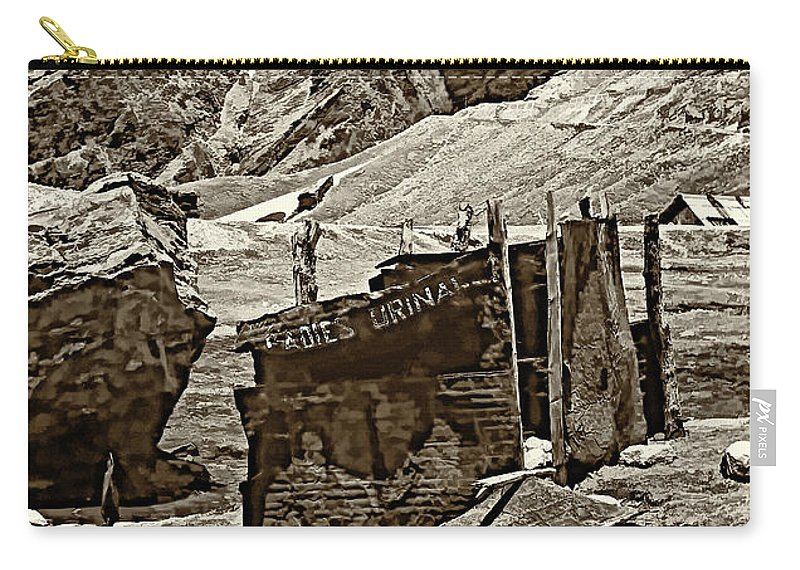 Travel Carry-all Pouch featuring the photograph Comfort Station Sepia by Steve Harrington