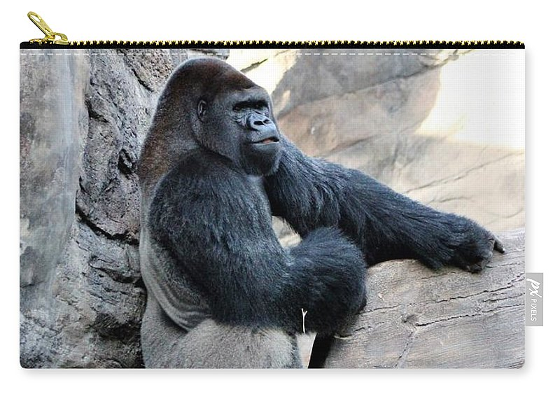 Gorilla Carry-all Pouch featuring the photograph Comfy Rock by Mesa Teresita