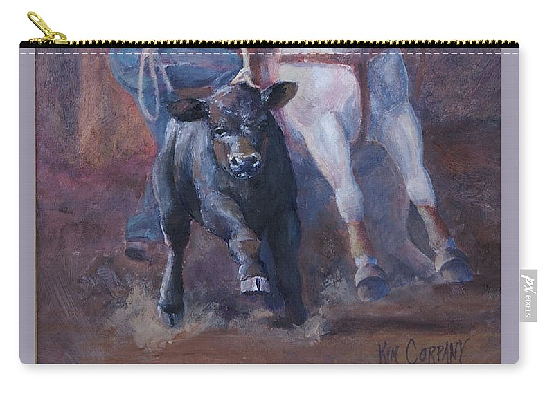 Calf Carry-all Pouch featuring the painting Comin At Ya   Calf Roping Painting by Kim Corpany