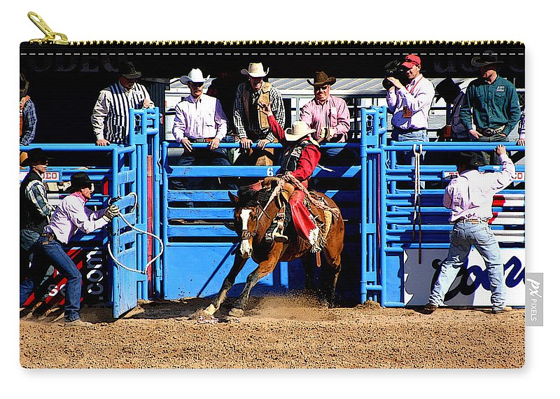 Rodeo. Rodeos Carry-all Pouch featuring the photograph Coming Out Party by Joe Kozlowski
