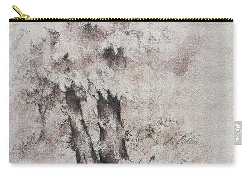 Trees Carry-all Pouch featuring the drawing Coming Storm by William Russell Nowicki