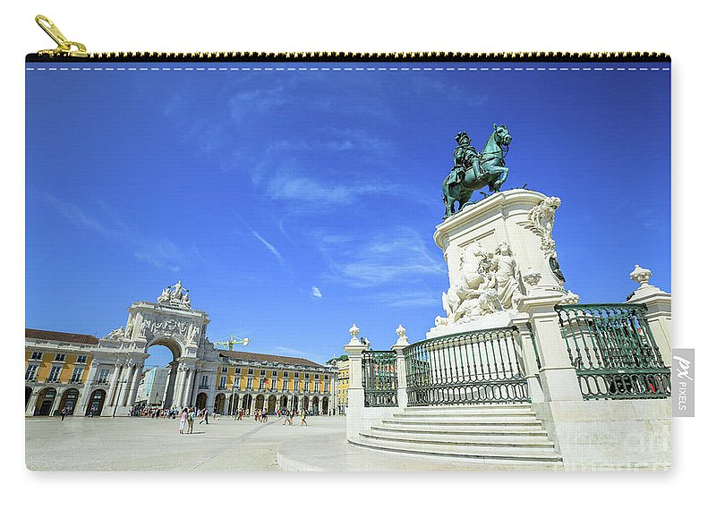 Lisbon Carry-all Pouch featuring the photograph Commerce Square Lisbon by Benny Marty
