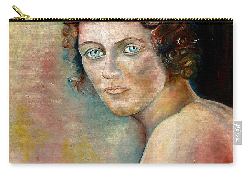 Portrait Carry-all Pouch featuring the painting Commission Me Your Face by Carole Spandau