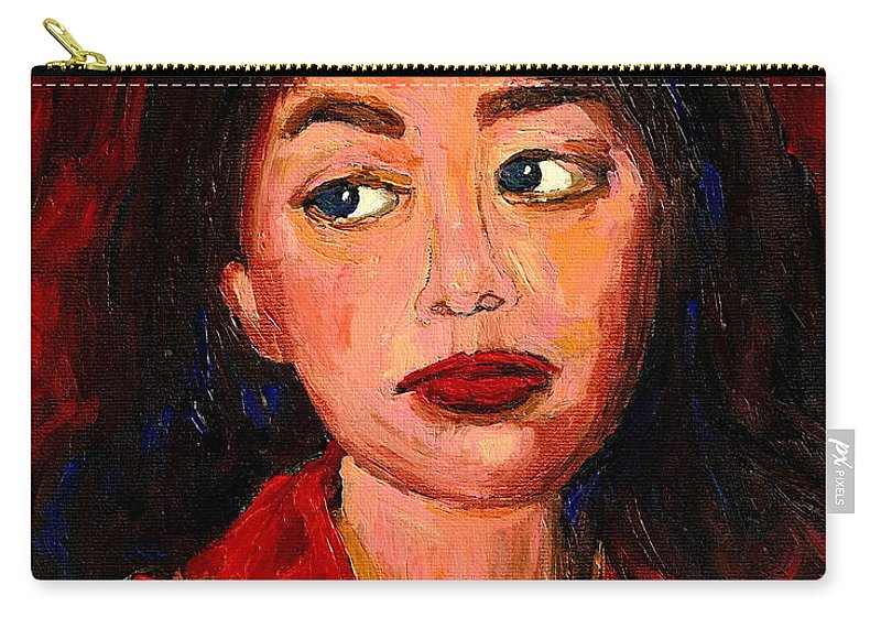 Commissioned Art Carry-all Pouch featuring the painting Commission Montreal Portrait Artist Classically Trained by Carole Spandau