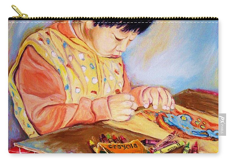 Beautiful Child Carry-all Pouch featuring the painting Commission Portraits Your Child by Carole Spandau