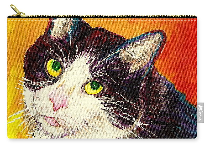 Cats Carry-all Pouch featuring the painting Commission Your Pets Portrait By Artist Carole Spandau Bfa Ecole Des Beaux Arts by Carole Spandau