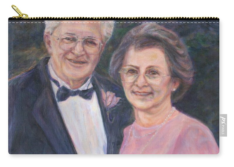 Portrait Carry-all Pouch featuring the painting Commissioned Portrait Painting by Quin Sweetman