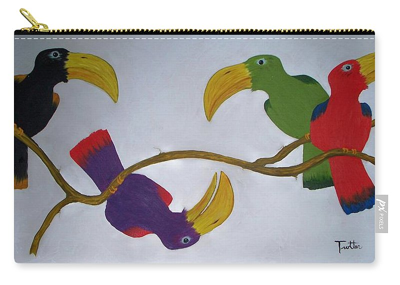 Birds Carry-all Pouch featuring the painting Community Stick by Patrick Trotter