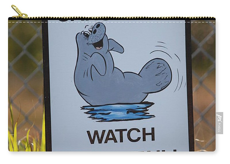 Carry-all Pouch featuring the photograph Compact Cars Only Sign by Carol Groenen