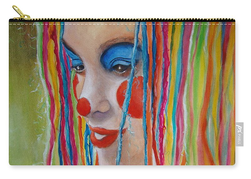 Clowns Carry-all Pouch featuring the painting Complementary by Myra Evans
