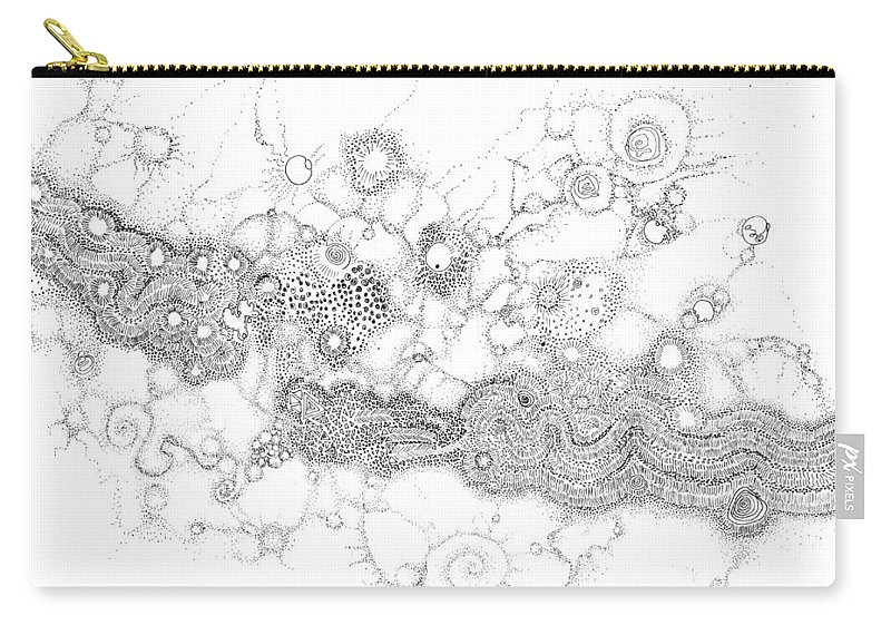 Complex Carry-all Pouch featuring the drawing Complex Fluid A Novel Surfactancy by Regina Valluzzi