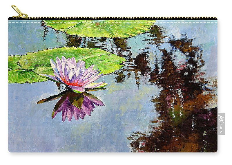 Water Lily Carry-all Pouch featuring the painting Composition Of Beauty by John Lautermilch