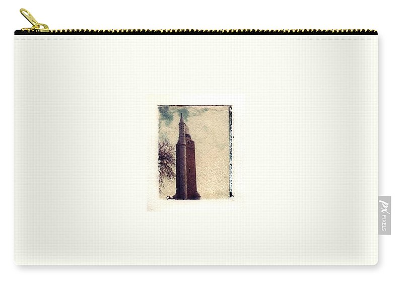 Polaroid Transfer Carry-all Pouch featuring the photograph Compton Water Tower by Jane Linders