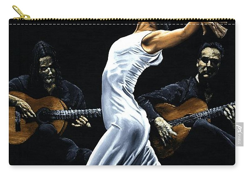 Flamenco Carry-all Pouch featuring the painting Concentracion Del Funcionamiento Del Flamenco by Richard Young