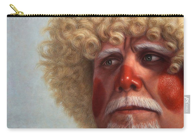 Clown Carry-all Pouch featuring the painting Concerned by James W Johnson