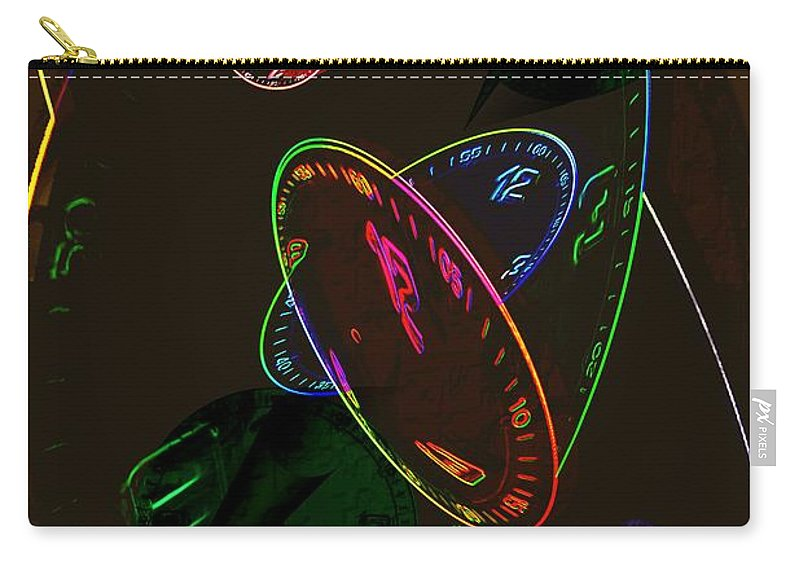 Clocks Carry-all Pouch featuring the digital art Concurrent Clocks by Helmut Rottler