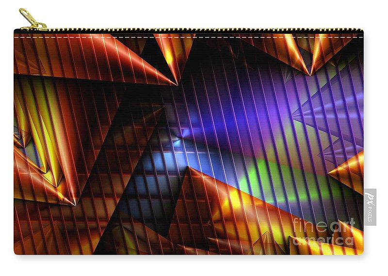 Cone Carry-all Pouch featuring the digital art Cone Convergence by Ron Bissett