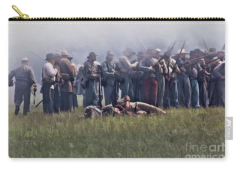 Union Carry-all Pouch featuring the digital art Confederate Infantry Skirmish by Tommy Anderson