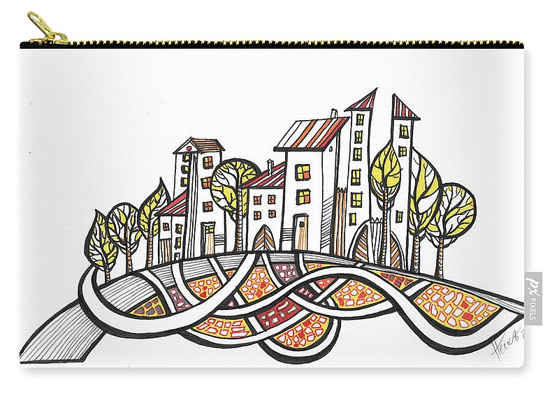 Houses Carry-all Pouch featuring the drawing Connections by Aniko Hencz