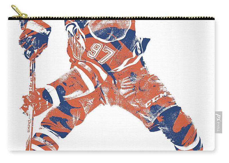 Connor Mcdavid Carry-all Pouch featuring the mixed media Connor Mcdavid Edmonton Oilers Pixel Art 4 by Joe Hamilton