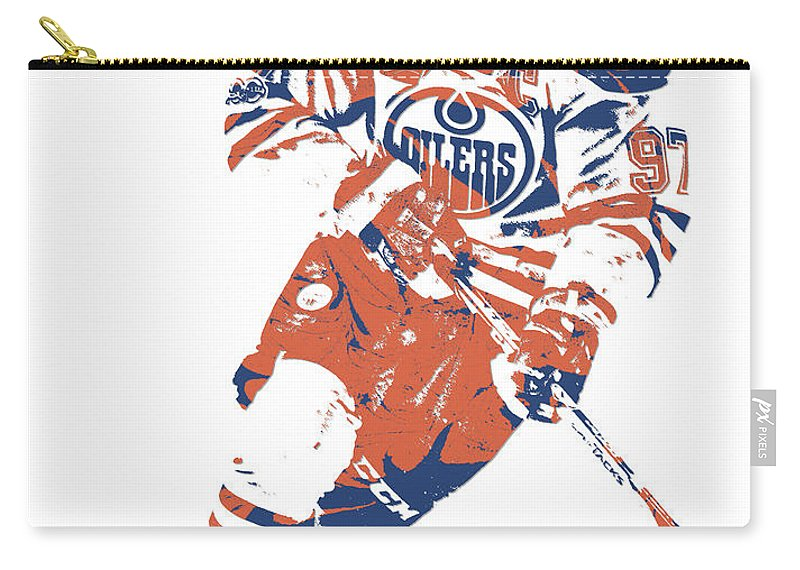 Connor Mcdavid Carry-all Pouch featuring the mixed media Connor Mcdavid Edmonton Oilers Pixel Art 6 by Joe Hamilton