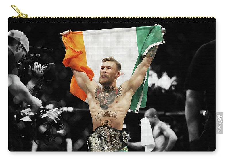 Conor Mcgregor Carry-all Pouch featuring the mixed media Conor Mcgregor 2b by Brian Reaves