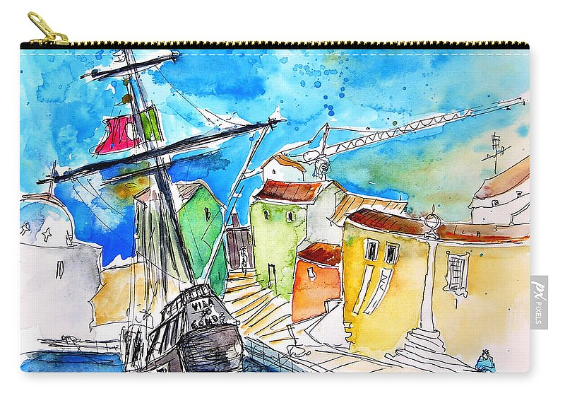 Portugal Carry-all Pouch featuring the painting Conquistador Boat In Portugal by Miki De Goodaboom