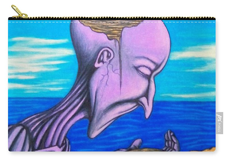 Michael Carry-all Pouch featuring the drawing Conscious Thought by Michael TMAD Finney