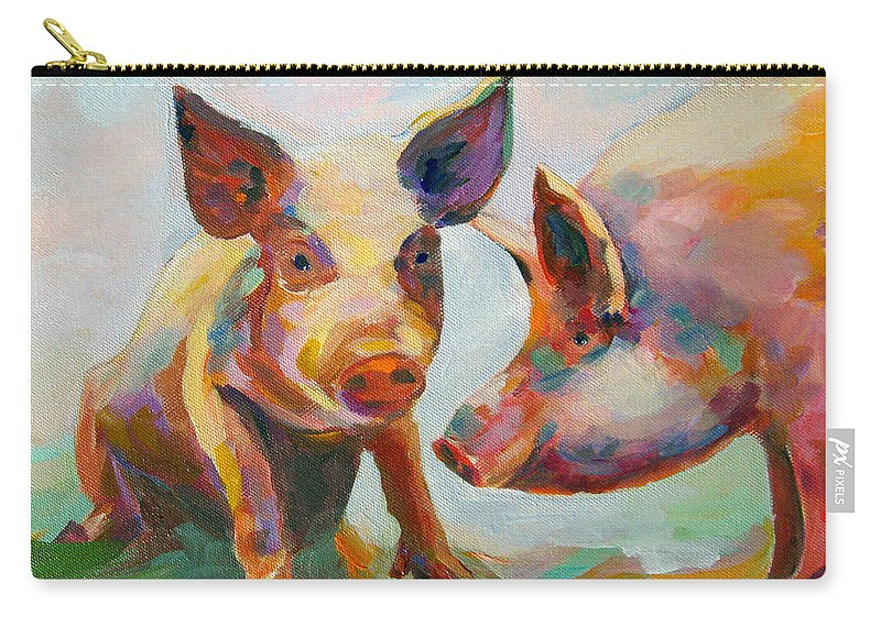 Pigs Carry-all Pouch featuring the painting Consultation by Naomi Gerrard