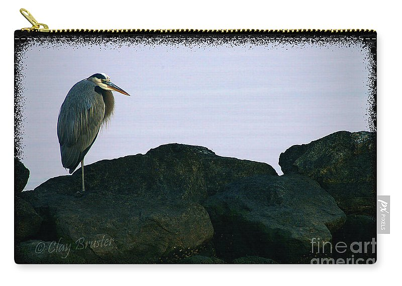 Clay Carry-all Pouch featuring the photograph Contemplating Heron by Clayton Bruster