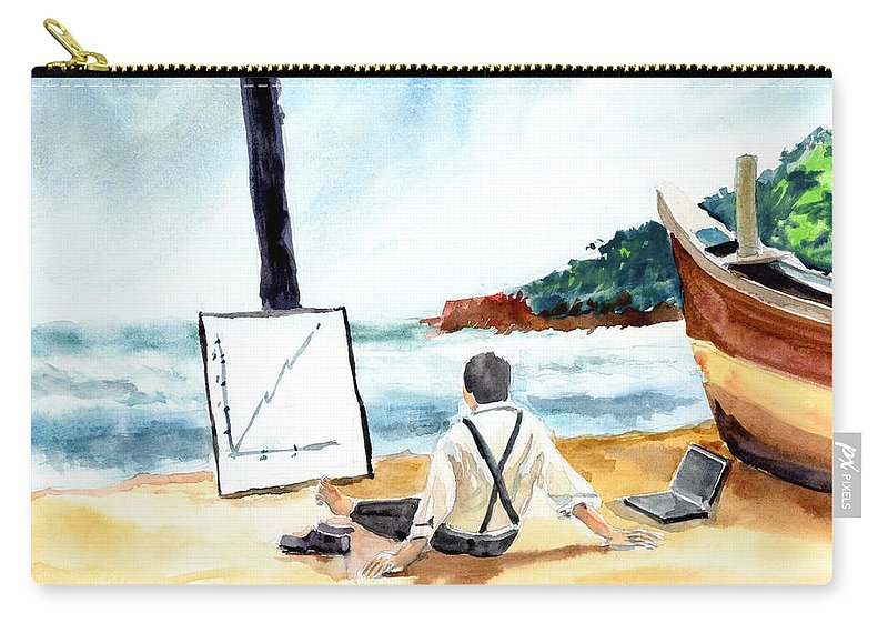 Landscape Carry-all Pouch featuring the painting Contemplation by Anil Nene