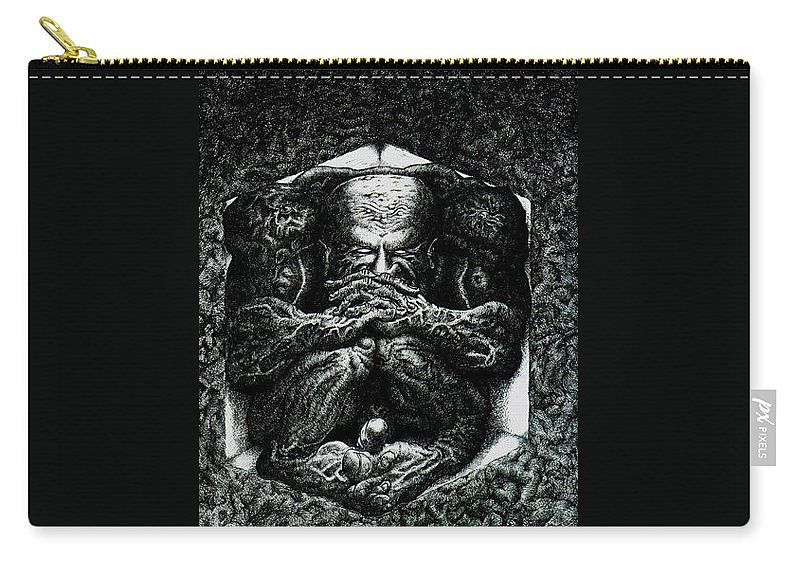 Dark Carry-all Pouch featuring the drawing Contemplation by Tobey Anderson