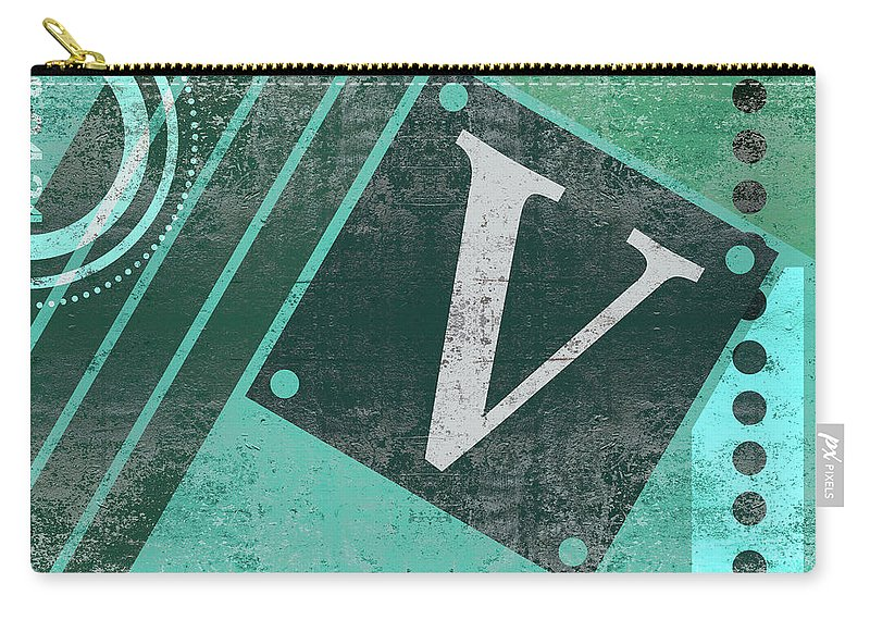 Abstract Carry-all Pouch featuring the mixed media Contemporary Abstract Industrial Art - Distressed Metal - Olive Green by Studio Grafiikka