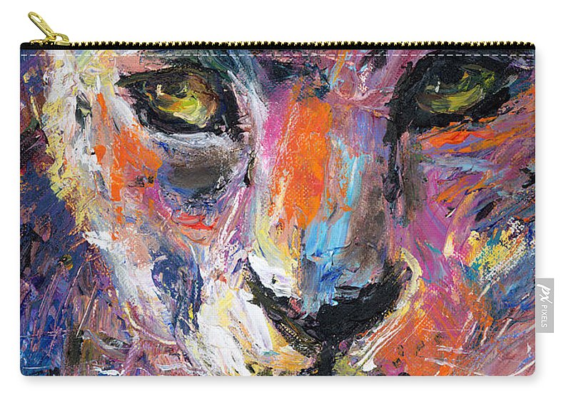 Wildlife Painting Carry-all Pouch featuring the painting contemporary Wildlife painting cheetah leopard by Svetlana Novikova