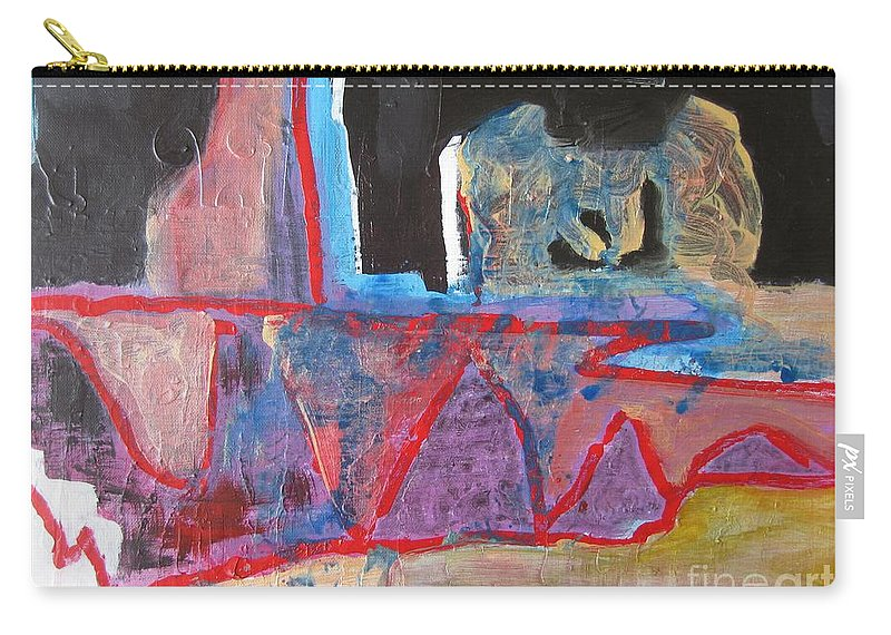 Abstract Paintings Carry-all Pouch featuring the painting Contradiction Of Time by Seon-Jeong Kim