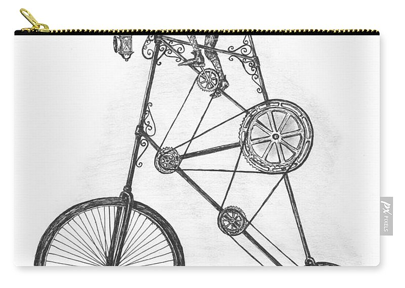 Pen & Ink Carry-all Pouch featuring the drawing Contraption by Adam Zebediah Joseph