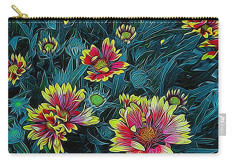 Colorful Carry-all Pouch featuring the digital art Contrasting Colors Digital Art by Ernie Echols