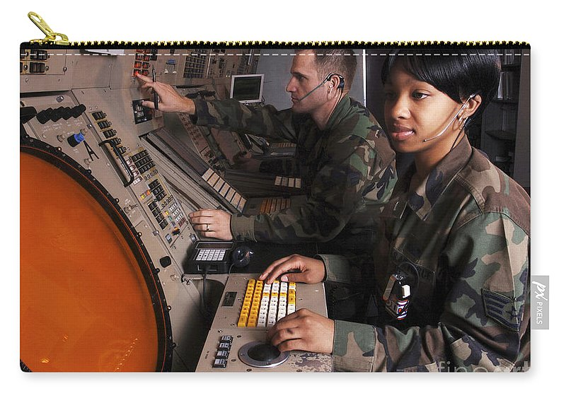 Horizontal Carry-all Pouch featuring the photograph Control Technicians Use Radarscopes by Stocktrek Images