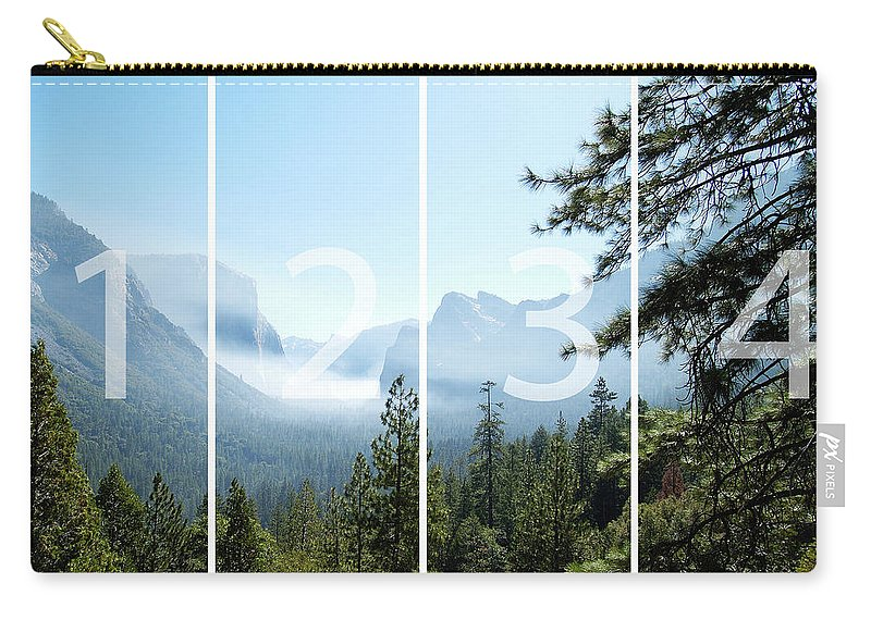El Capitan Carry-all Pouch featuring the digital art Controlled Burn Of Yosemite Panoramic Map by Michael Bessler