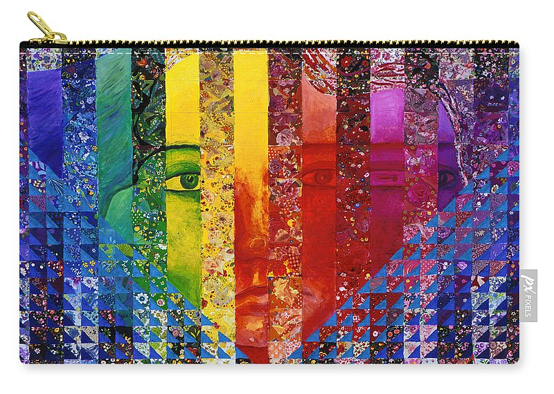 Colorful Carry-all Pouch featuring the mixed media Conundrum I - Rainbow Woman by Diane Clancy