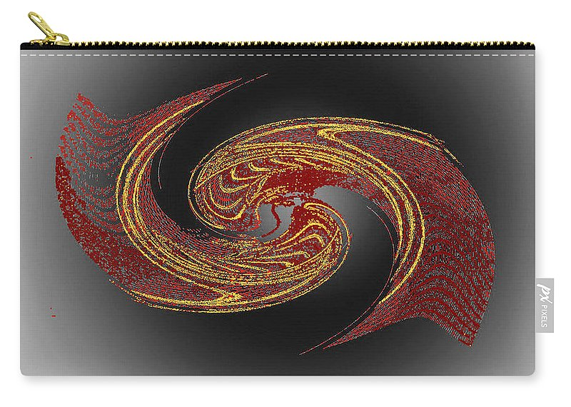 Red Carry-all Pouch featuring the digital art Convergence In Red And Gold by Don Quackenbush