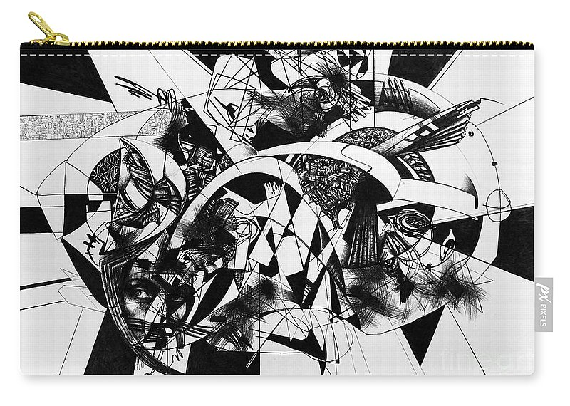 Art Carry-all Pouch featuring the drawing Conversation 10 by Pavle Maksimovic