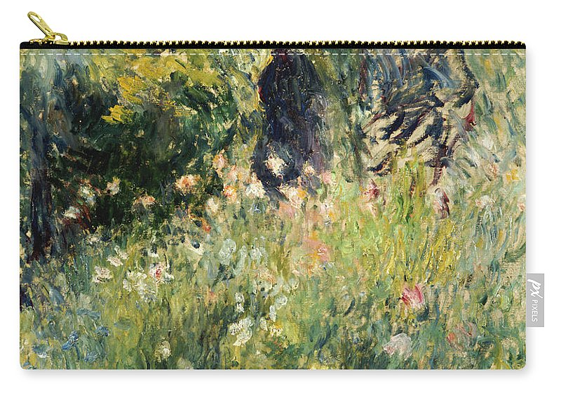 Impressionism; Impressionist; Female; Talking; Flower; Plant; Conversation In A Rose Garden Carry-all Pouch featuring the painting Conversation In A Rose Garden by Pierre Auguste Renoir