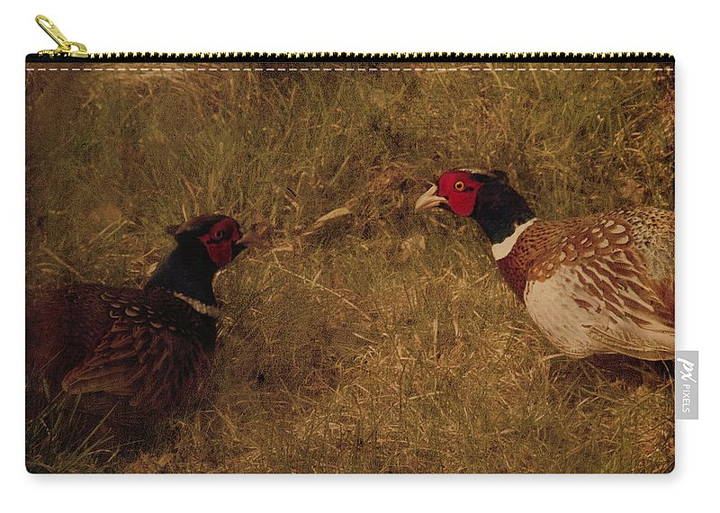 Pheasant Carry-all Pouch featuring the photograph Conversations by Angel Ciesniarska