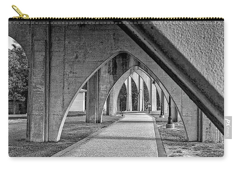 Architecture Carry-all Pouch featuring the photograph Conway River Walk Black And White by Kathy Baccari