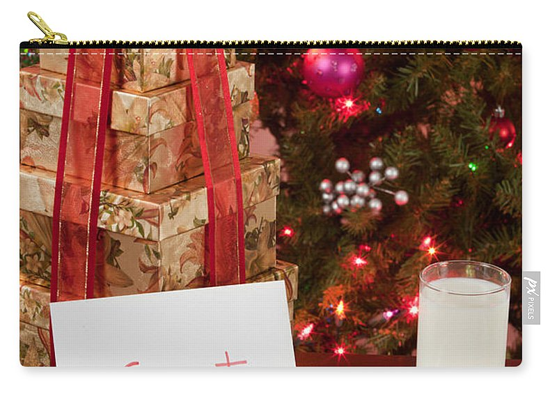 Cookies Carry-all Pouch featuring the photograph Cookies And Milk For Santa by Anthony Totah