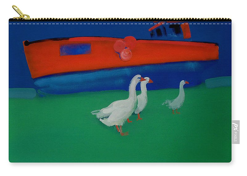 Geese Carry-all Pouch featuring the painting Cool And Dry by Charles Stuart