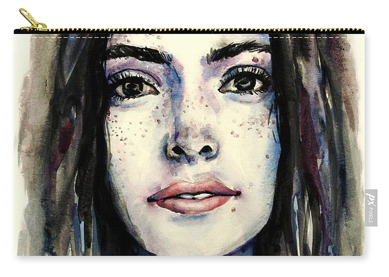 Cool Colors Carry-all Pouch featuring the painting Cool Colored Watercolor Face by Hannah Sutherland